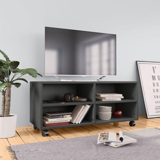 uco meuble tv avec roulettes gris 90 x 35 x 35 cm agglomere