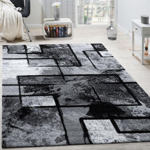 tapis design moderne poils ras abstrait peintures effet noir gris anthracite