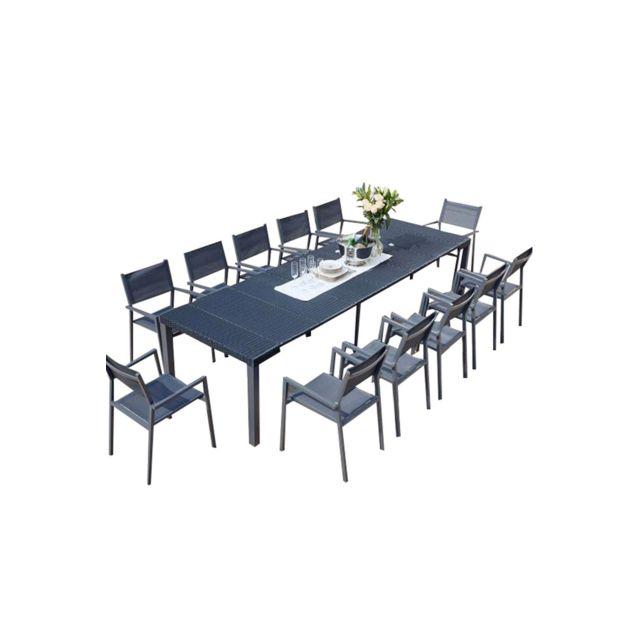 bran console extensible resine 2 12 pl 12 chaises 2 housses