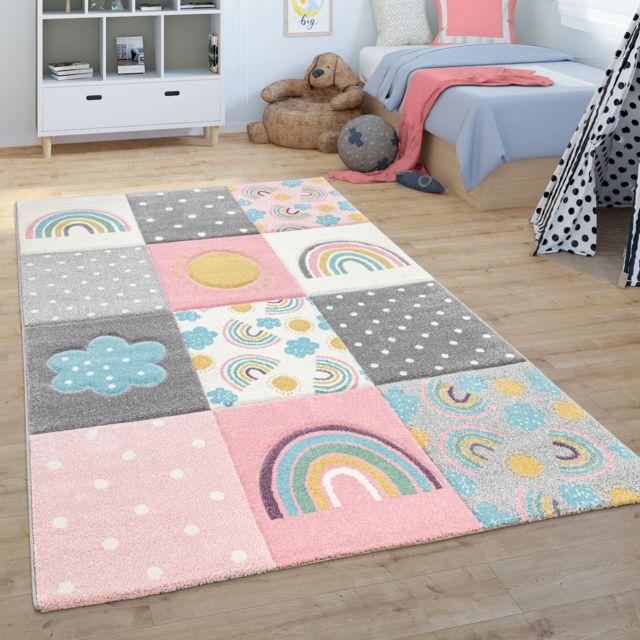 tapis pour enfant tapis chambre d enfant tapis de jeu arc en ciel nuages rose