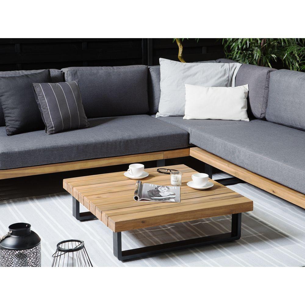beliani salon de jardin gris et bois