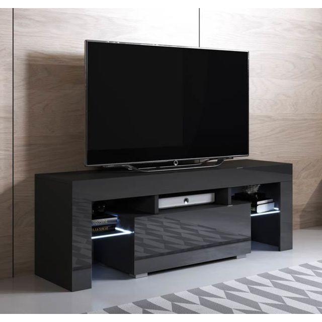meuble tv modele elio 130x45cm couleur noir avec led rgb