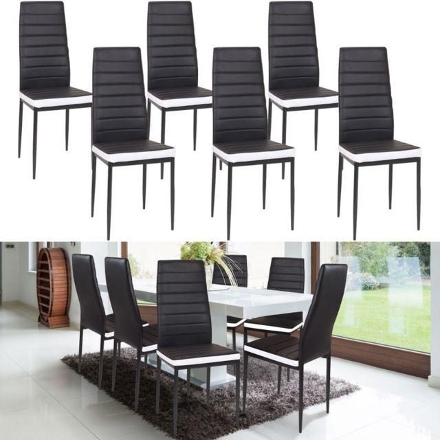 lot de 6 chaises romane noires bandeau blanc pour salle a manger