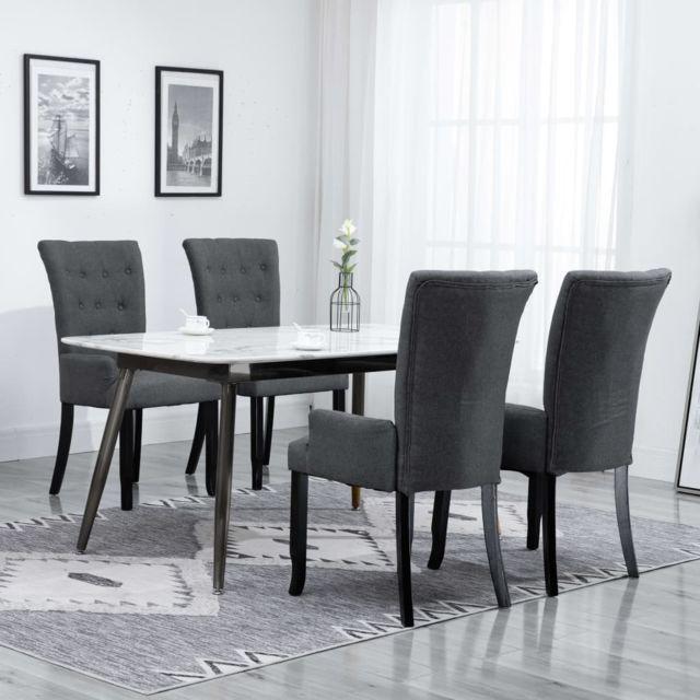 vidaxl chaise de salle a manger avec accoudoirs 4 pcs gris fonce tissu