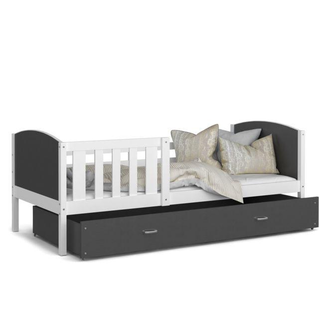 lit enfant tomy 90x190 blanc gris livre avec tiroir sommier et matelas en