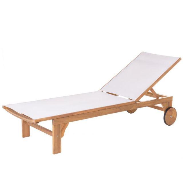 bain de soleil bois d acacia textilene blanc oluveli