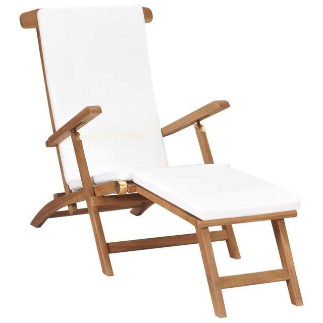 vidaxl chaise longue avec coussin blanc creme bois de teck solide