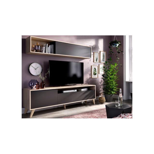 mur tv albora avec rangements coloris anthracite chene