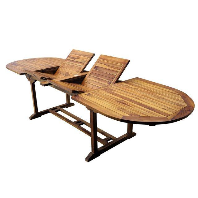 table de jardin en teck xxl 200 250 300 cm double rallonge