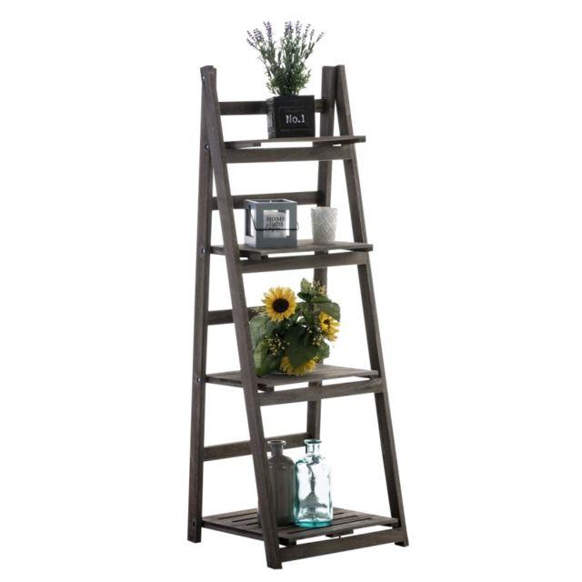 echelle etagere plante decoration vintage en bois marron 4 niveaux eta10055