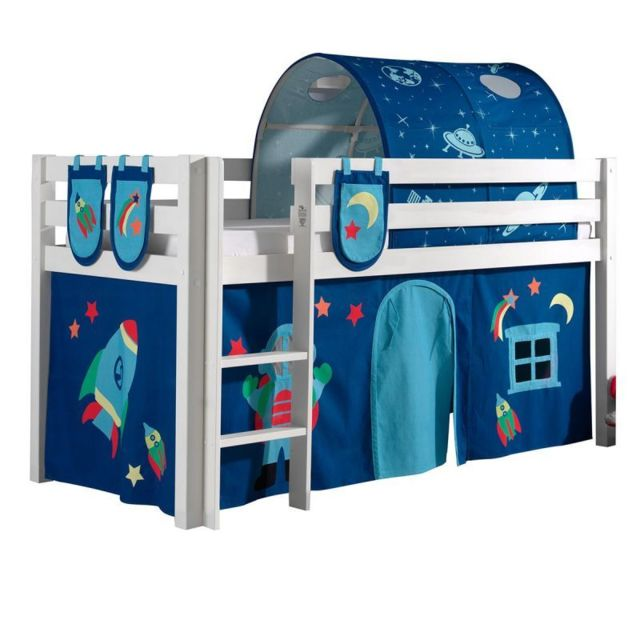 pack lit enfant tente 3 pochettes tunnel pino astronaute ii blanc