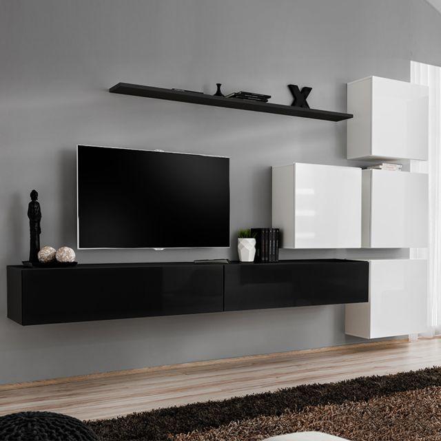 meuble tv suspendu noir et blanc rotello 2