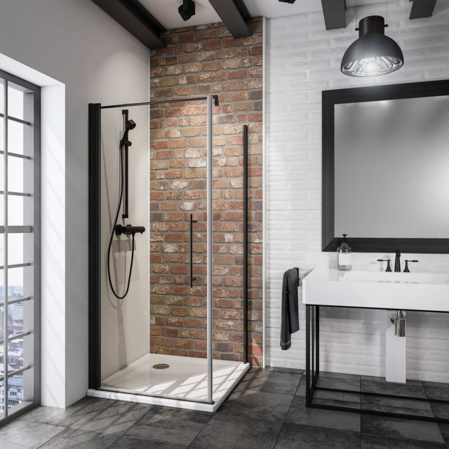 schulte porte de douche pivotante 80 x 193 cm avec paroi laterale verre