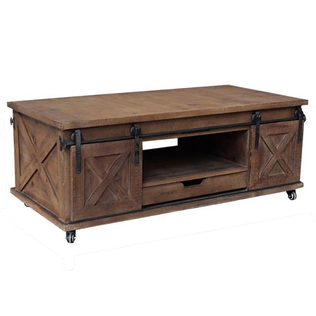 grande table basse industrielle campagne bois de salon 120 cm
