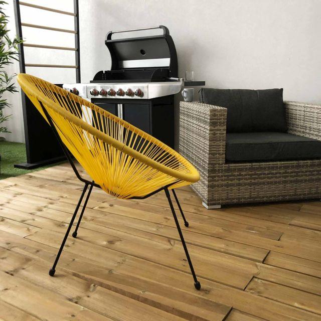 fauteuil acapulco forme d oeuf jaune fauteuil 4 pieds design retro cordage