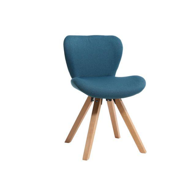 chaise scandinave tissu bleu canard et bois clair anya