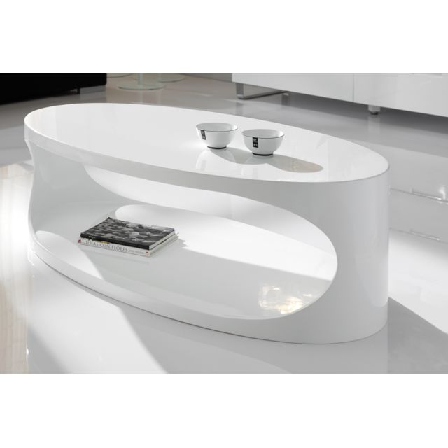 table basse ovale blanc laque design pori