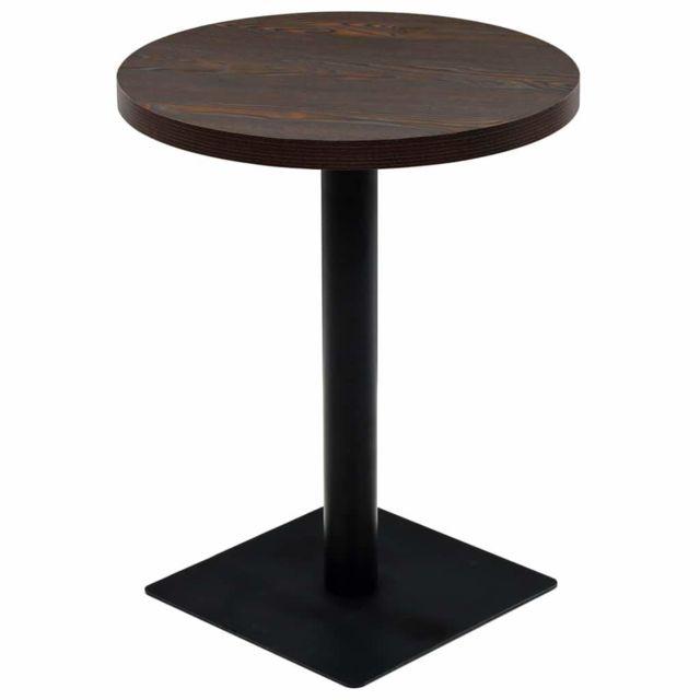 table haute mange debout bar bistrot mdf et acier rond 60 cm frene fonce 0902110