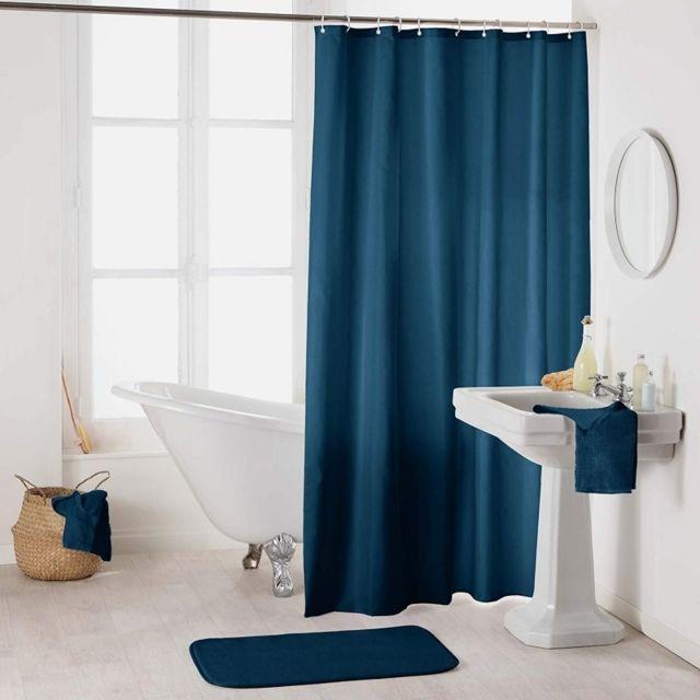 rideau de douche en polyester uni avec crochets l 200 x l 180 cm bleu nuit