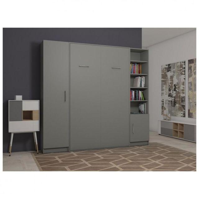 composition armoire lit escamotable smart v2 gris mat couchage 160 x 200 cm