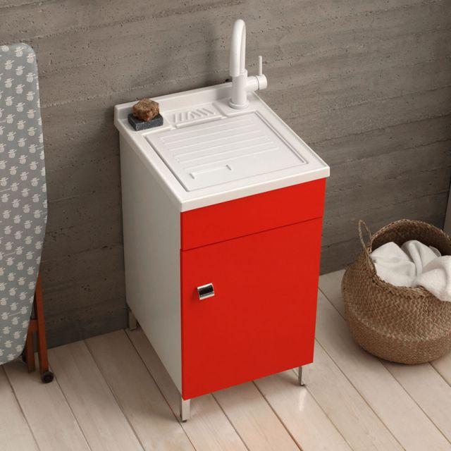 meuble lavabo lave mains 45x50 sur chambres a pieds pour lavage rouge imperial