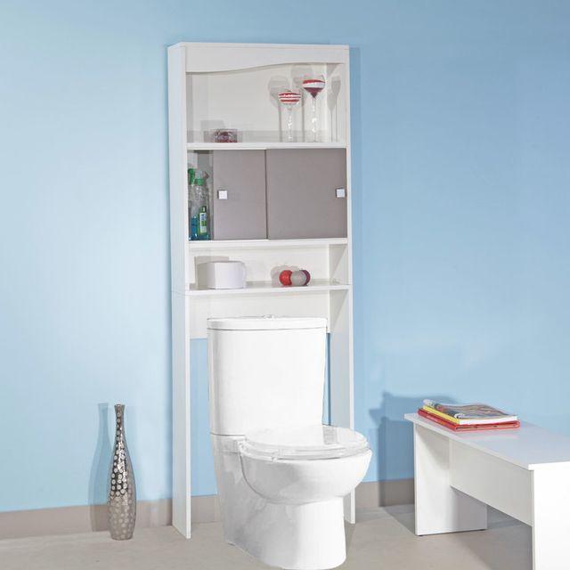 meuble wc bois avec 2 portes coulissantes et 2 niches longueur 64 3cm banio
