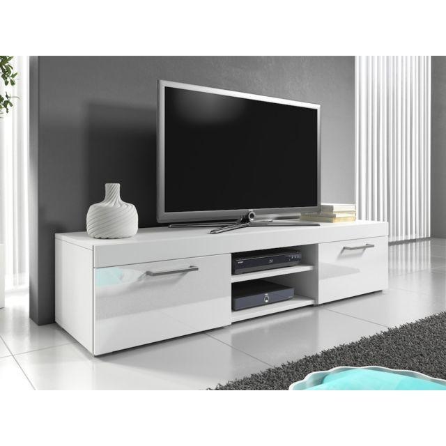 meuble tv 140 cm blanc mat et portes laquees