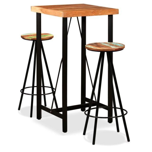 vidaxl ensemble de bar 3 pcs bois de sesham massif et recycle tabourets table