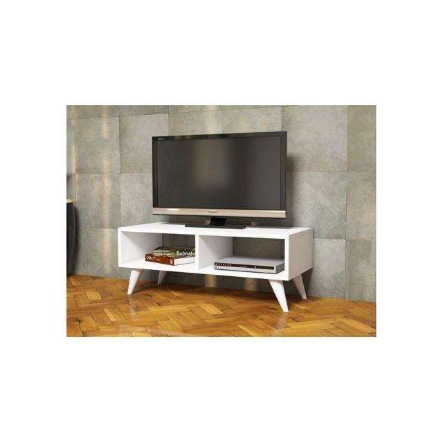 homemania meuble tv manolya moderne avec etageres pour salon blanc en