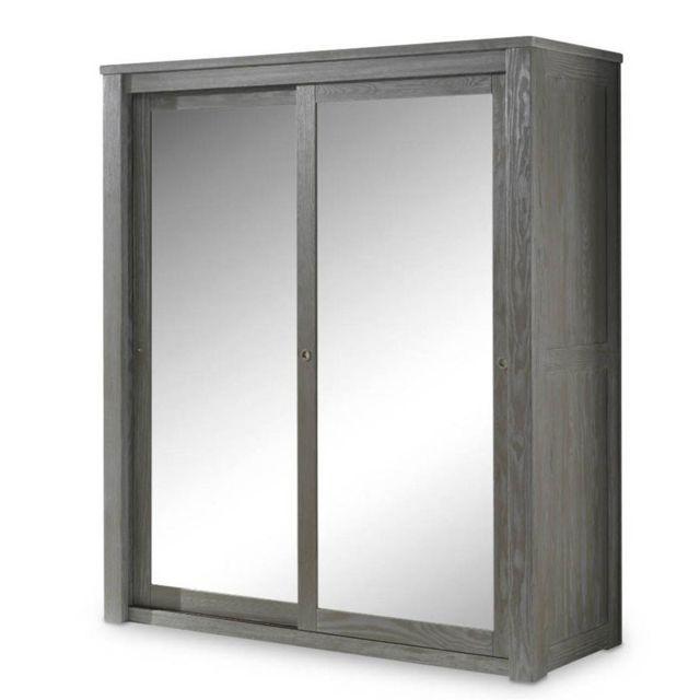 armoire 2 portes coulissantes miroir bois massif gris gabriel