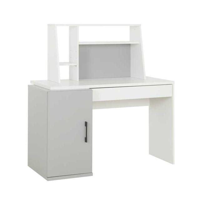 bureau secretaire 1 porte 1 tiroir blanc gris moonla