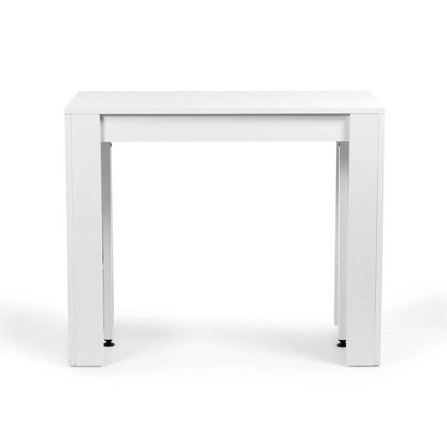 table console blanche extensible jusqu a 223cm 4 rallonges extenso