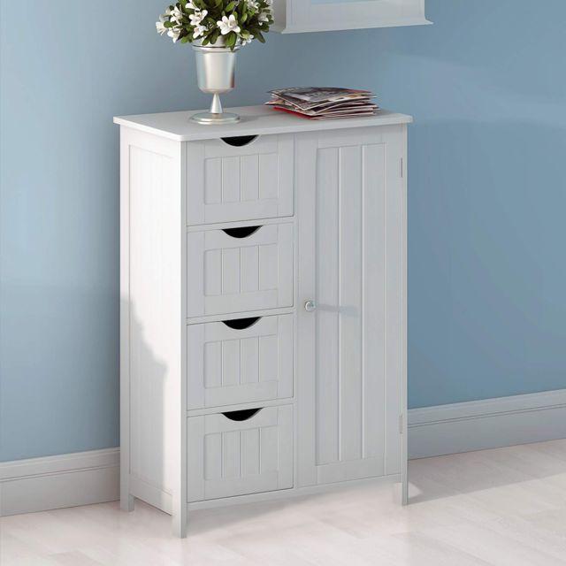 meubles de rangement pour chambre salle de bain blanc 4 tiroirs 1 porte