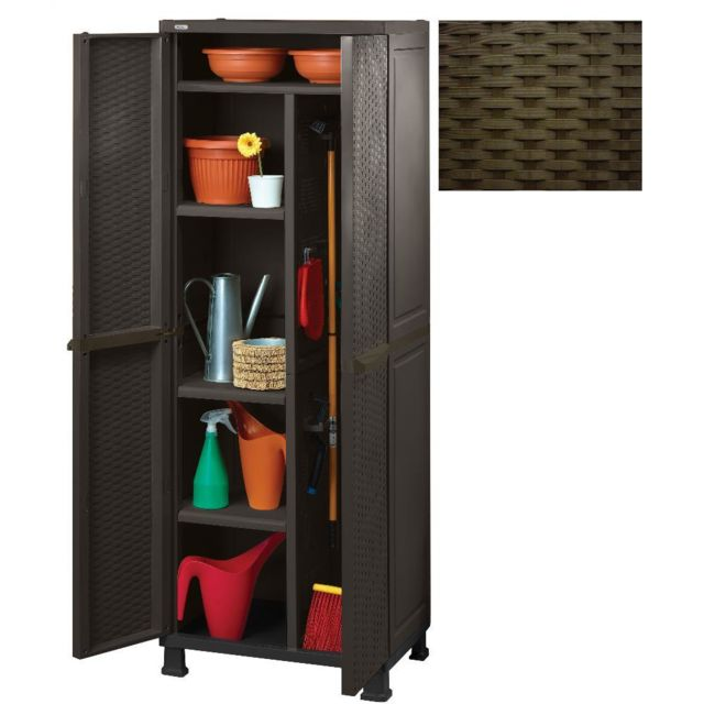 armoire en resine multi usage porte balai 65x45xh184cm marron mobilier de jardin