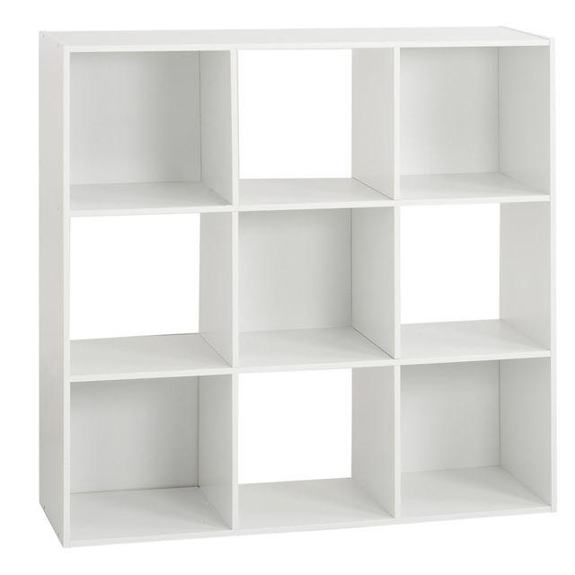 etagere bois 9 cases mix blanc