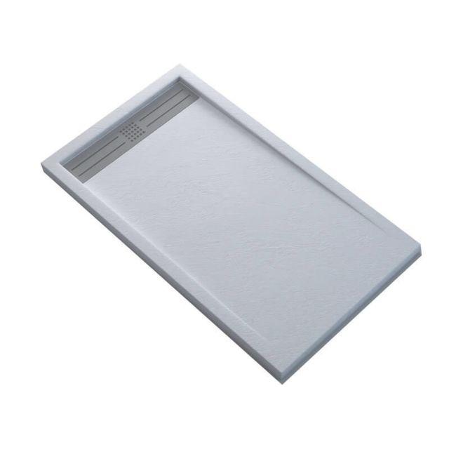 receveur de douche extra plat rectangulaire avec caniveau solid surface blanc