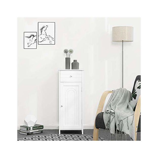 vasagle armoire de salle de bain sur pied colonne de rangement avec tiroir et