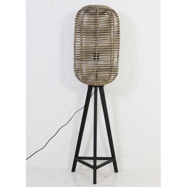 lampadaire cage sur pied tibana luminaire d appoint lampe naturelle en bois et