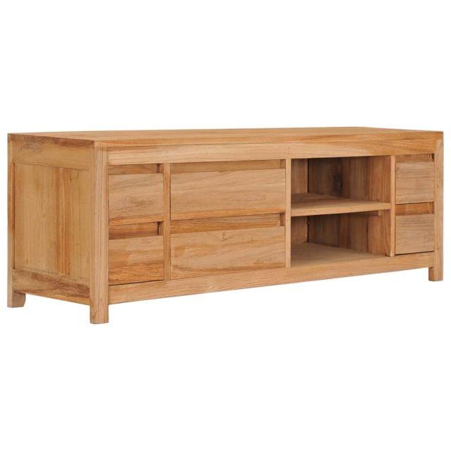 uco meuble tv 120x30x40 cm bois de teck massif