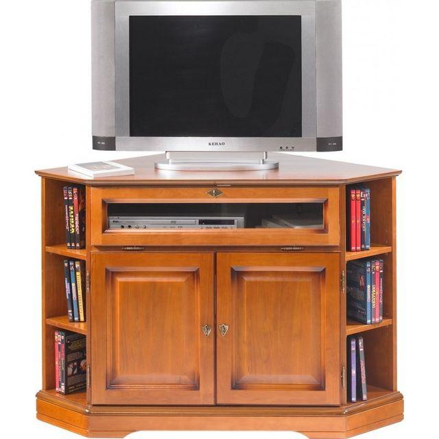 meuble tv d angle 2 portes merisier