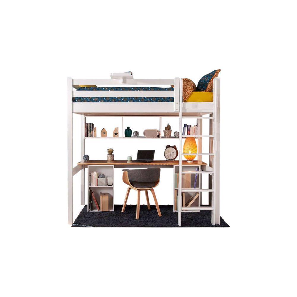 Sogan Lit Mezzanine Avec Bureau Orphee Blanc Et Bois 90x190 Cm Cadres De Lit Rue Du Commerce