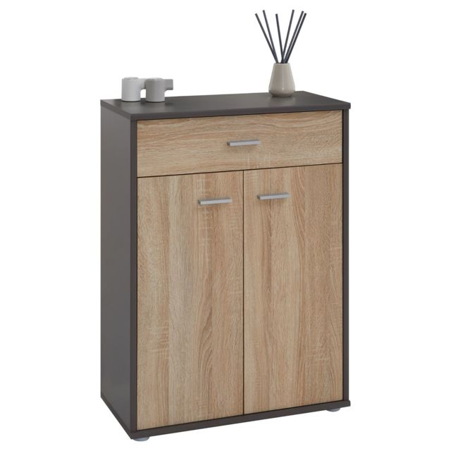 buffet calais commode meuble de rangement avec 1 tiroir et 2 portes en