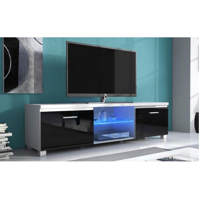 meuble bas tv led blanc mate et noir laque