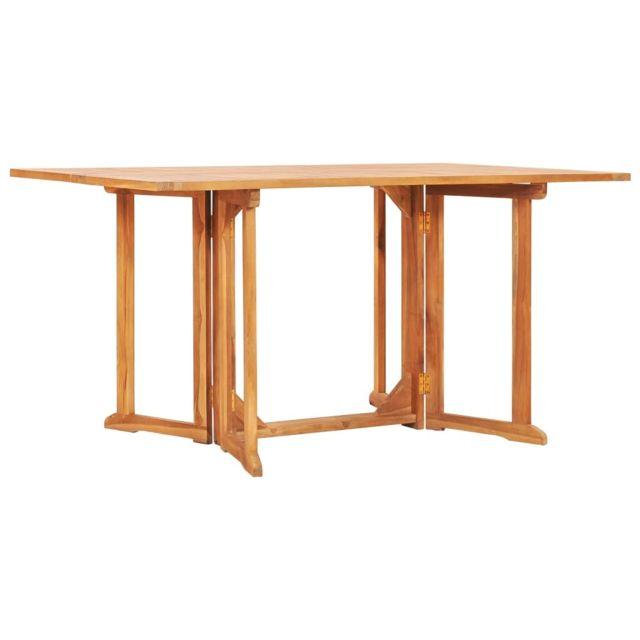 vidaxl table pliable de jardin papillon 150x90x75 cm bois teck solide
