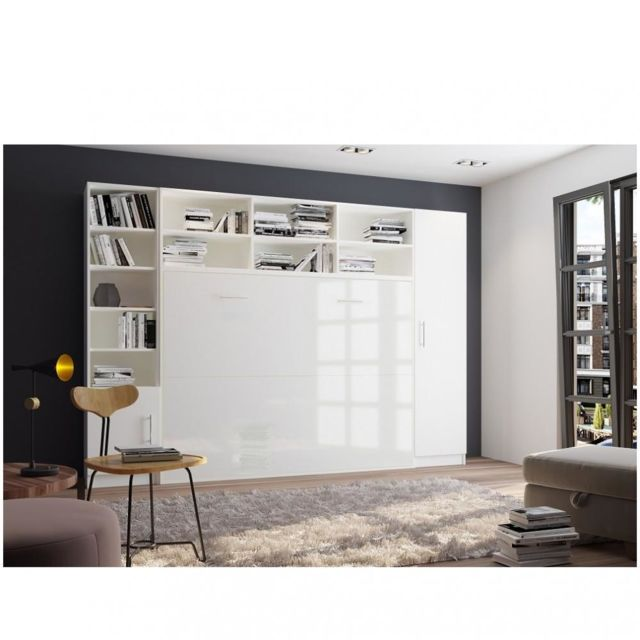 composition armoire lit horizontale strada v2 blanc mat facade armoire lit