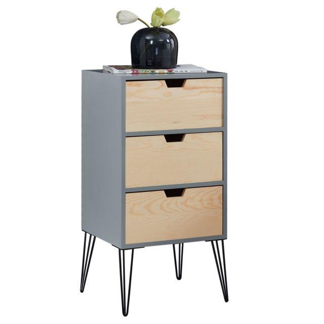table de chevet bahia meuble de nuit avec 3 tiroirs de coloris gris et bois