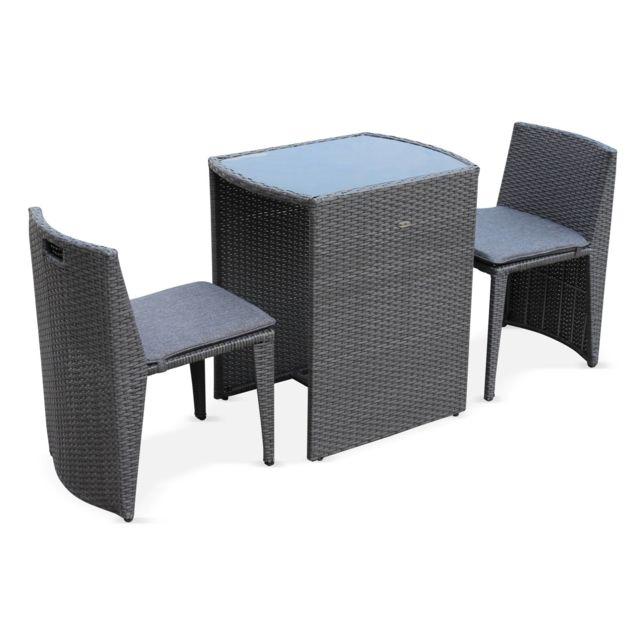 table de jardin en resine tressee doppio gris coussins gris chine 2