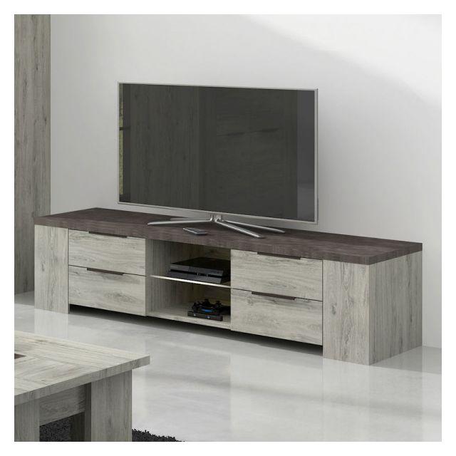 meuble tv 4 tiroirs 2 niches bois gris beton riucko l 170 x l 52 x h 43 cm