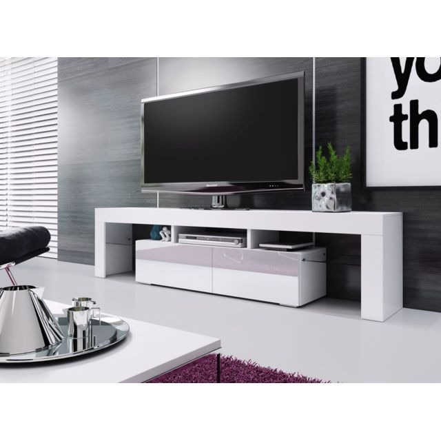 meuble banc tv blanc laque 1m90 leds non fournies moinschercuisine
