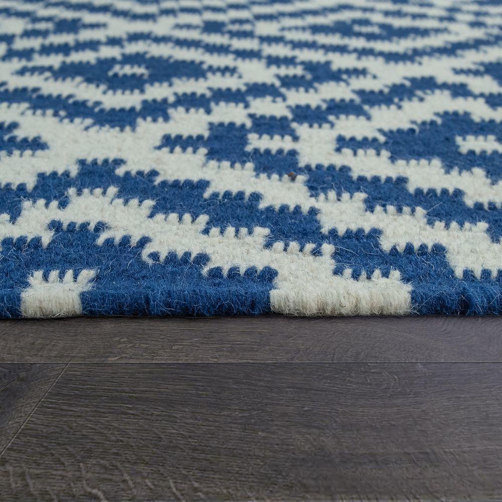 paco home tapis tisse main tendance moderne design marocain franges bleu blanc